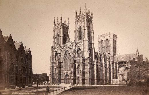 Antique photograph of York Minster, York, Yorkshire, England, 1880s, 19th Century