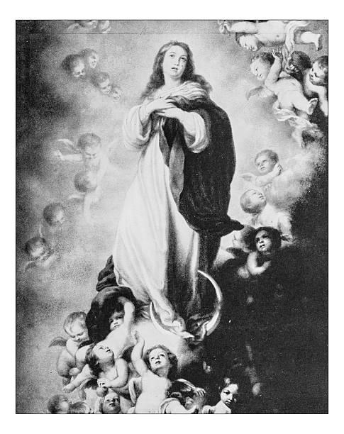 """antique photograph of""""assumption of virgin"""" by b.e.murillo(hermitage ,st. petersburg, russia) - ferragosto foto e immagini stock"""