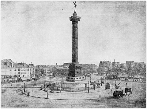 Antique photograph: Place de la Bastille, Paris, France