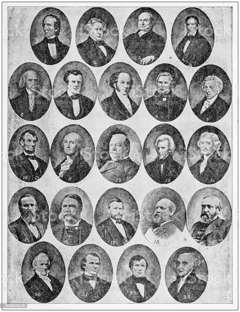 Antique photograph: Presidents of the USA stock photo