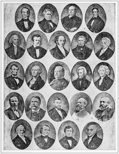 antique photograph: presidents of the usa - президент стоковые фото и изображения