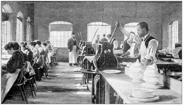 Antique photograph: Royal Porcelain Works, Worcester Antique photograph: Royal Porcelain Works, Worcester 20th century history stock pictures, royalty-free photos & images