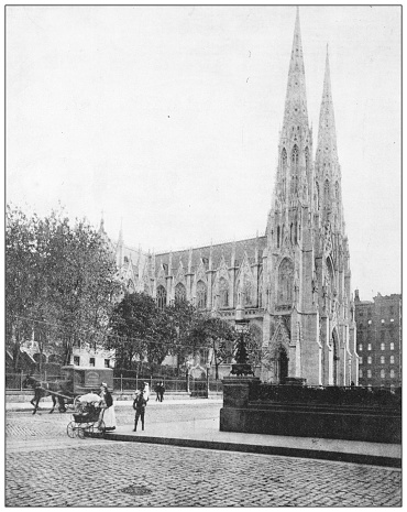 Antique photograph: Saint Patrick cathedral, New York