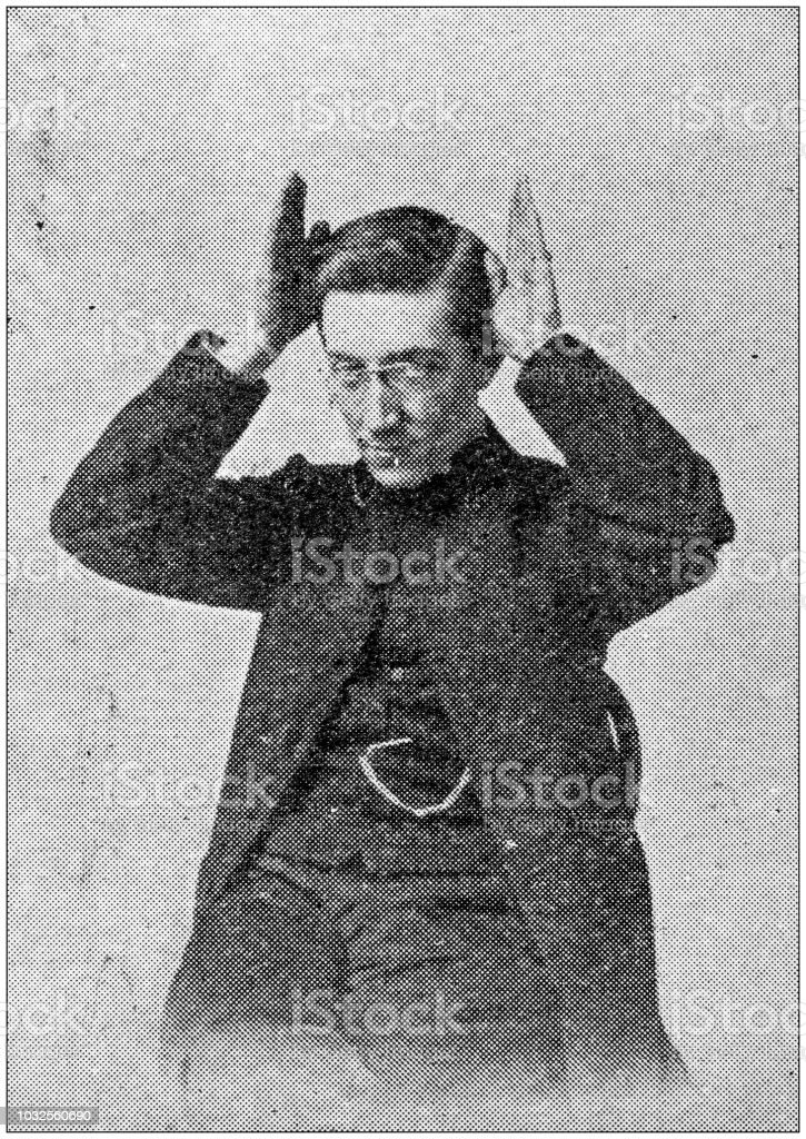 Antique photograph: Sign language, Stupidity (the Ass) stock photo