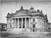Antique photograph: The Bourse, Brussels, Belgium