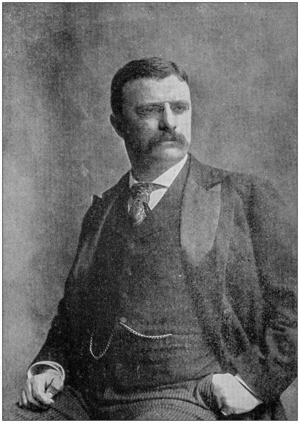 antique photograph: theodore roosevelt - президент стоковые фото и изображения
