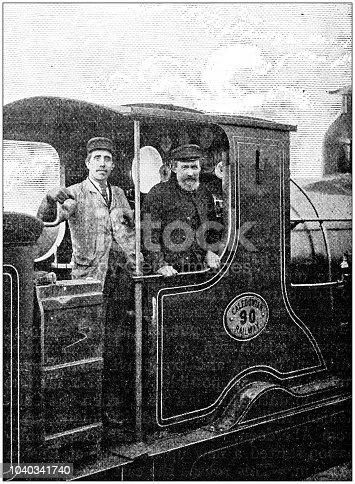 Antique photograph: Train locomotive