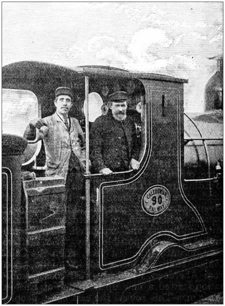 antique photograph: train locomotive - konduktor pociągu zdjęcia i obrazy z banku zdjęć