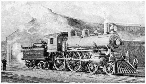 Antique photograph: Train locomotive Antique photograph: Train locomotive 1890 stock pictures, royalty-free photos & images