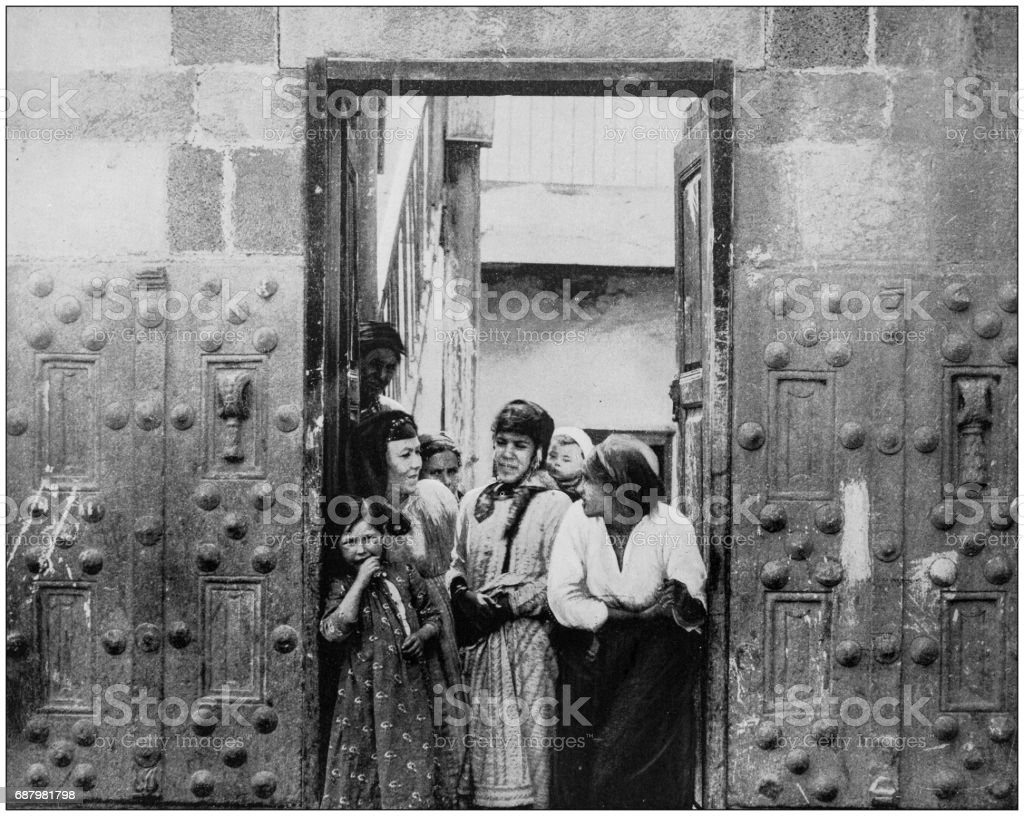 Antique photographs of Holy Land, Egypt and Middle East: Ancient bronze doors, Tiberias stock photo