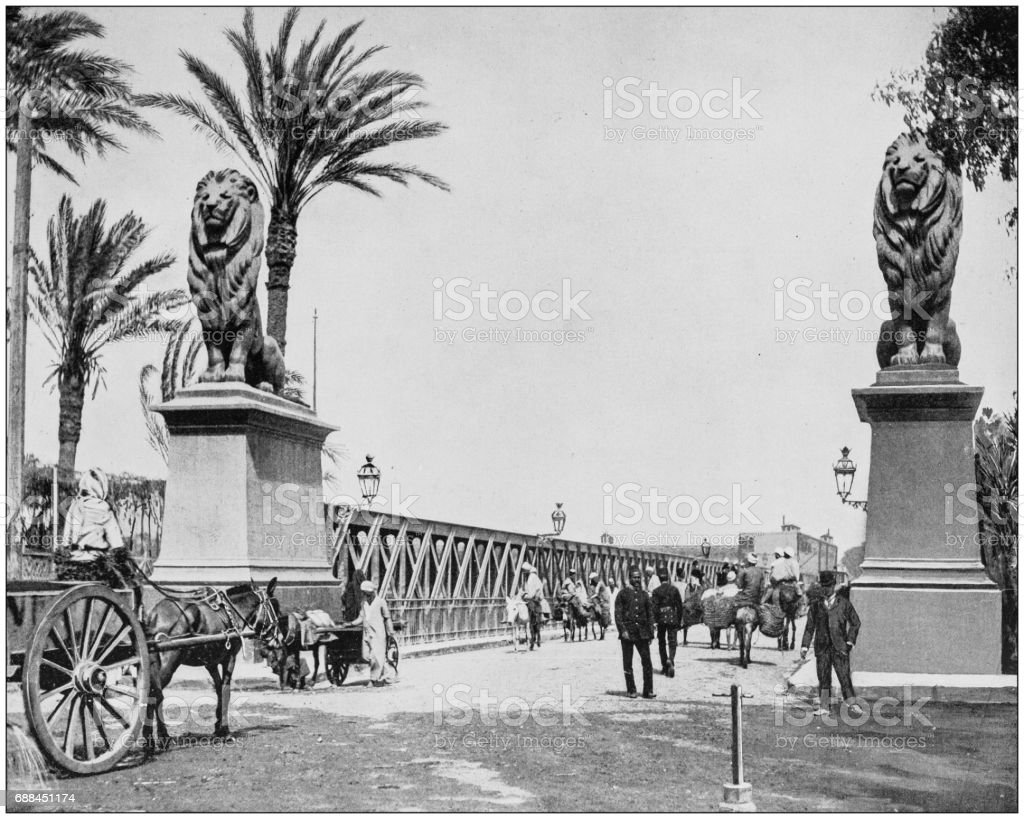 Antique photographs of Holy Land, Egypt and Middle East: Approach to the Nile bridge stock photo