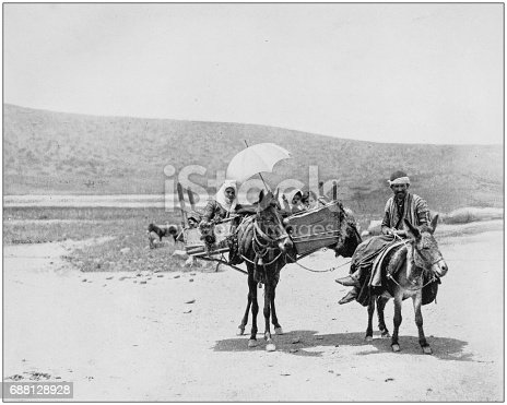 Antique photographs of Holy Land, Egypt and Middle East: Family traveling in Galilee