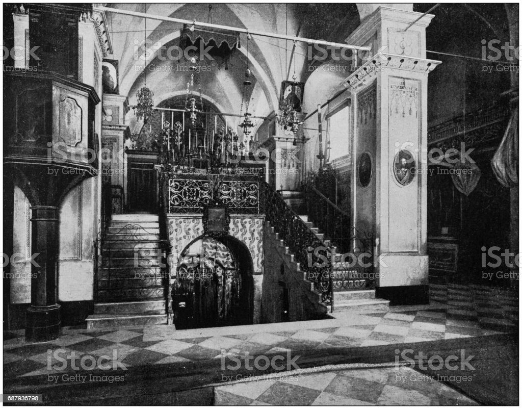 Antique photographs of Holy Land, Egypt and Middle East: Interior latin church of annunciation, Nazareth stock photo