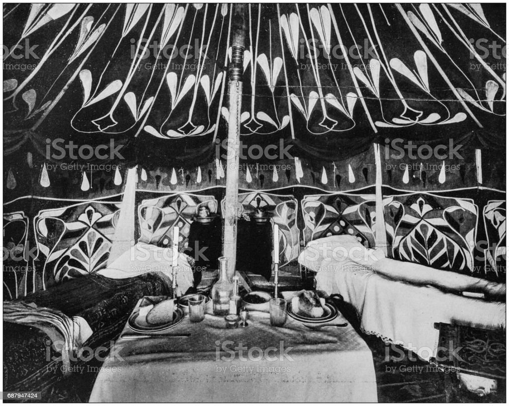 Antique photographs of Holy Land, Egypt and Middle East: Interior of tent, Nazareth stock photo