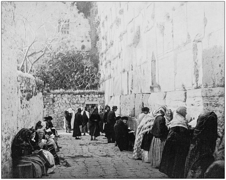 Antique photographs of Holy Land, Egypt and Middle East: Jewish wailing place, Western Wall