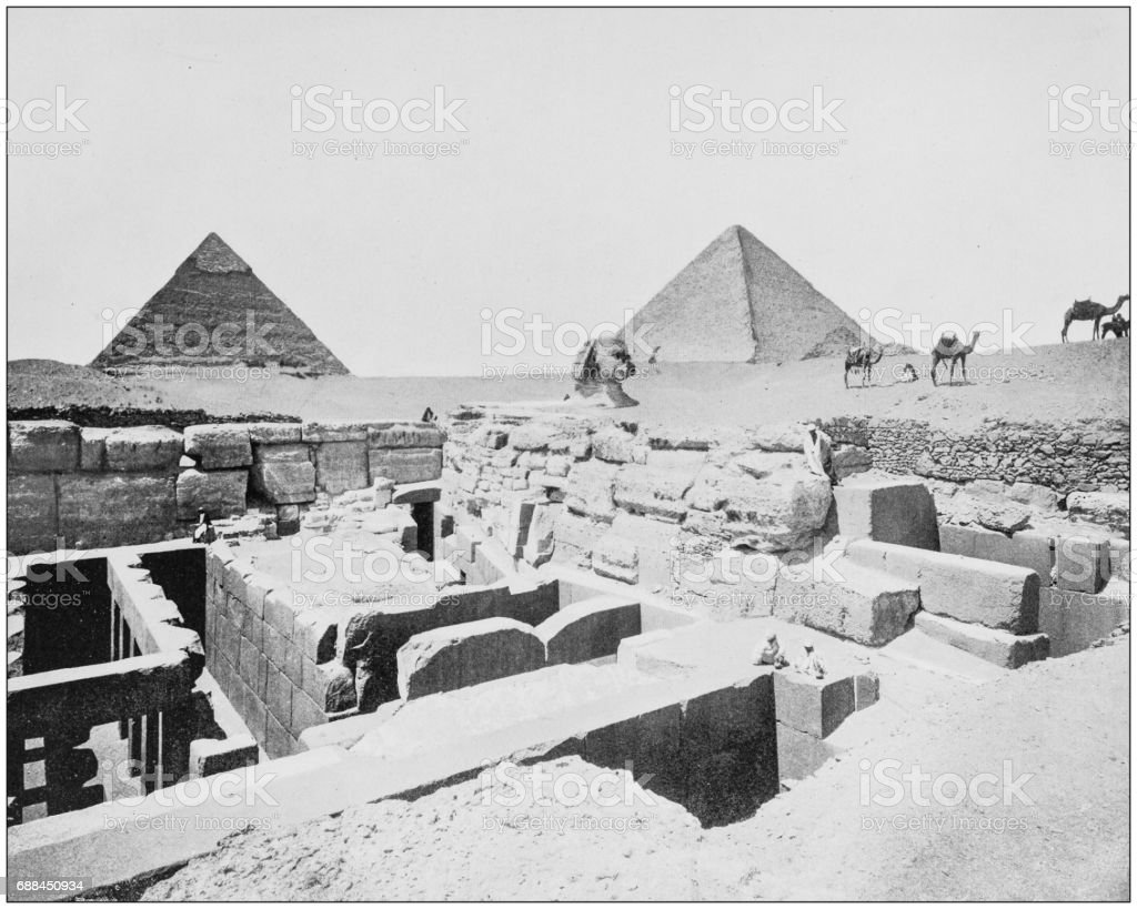 Antique photographs of Holy Land, Egypt and Middle East: Temple of the Sphinx stock photo