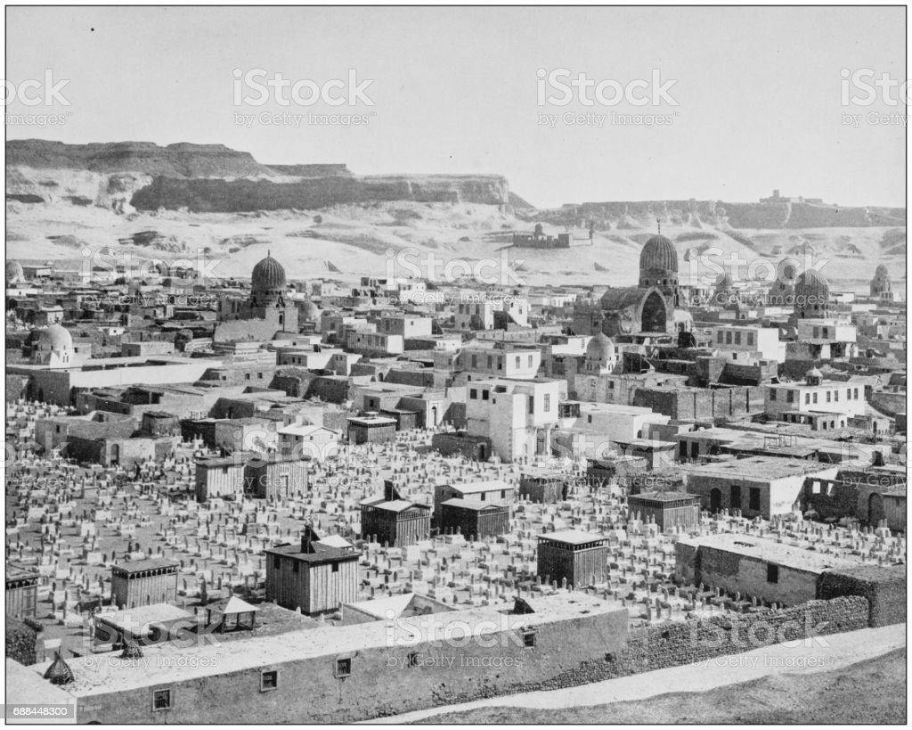 Antique photographs of Holy Land, Egypt and Middle East: Tombs of the Caliphs stock photo