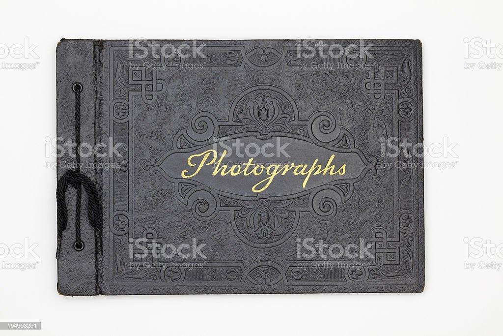 Antique Photographie couverture de livre, vieux cuir noir Album de photographies - Photo