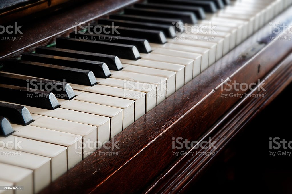antique piano keyboard, music concept stock photo