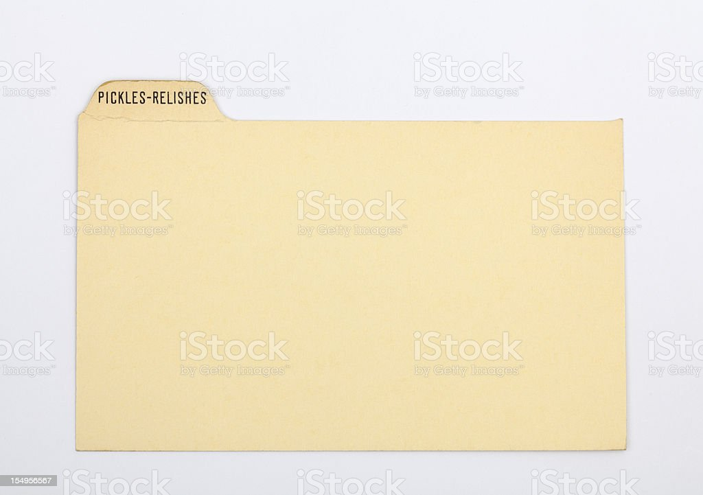 Antique Pickle & Relish Recipe Index Card Paper Background royalty-free stock photo