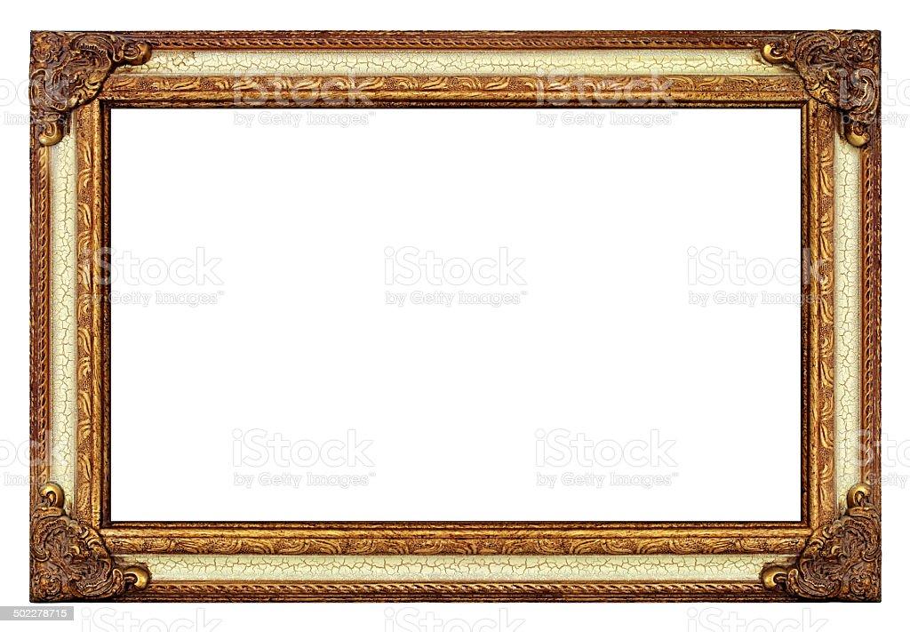 Porta-retrato ouro antigo em pintura rachada & envelhecido - foto de acervo