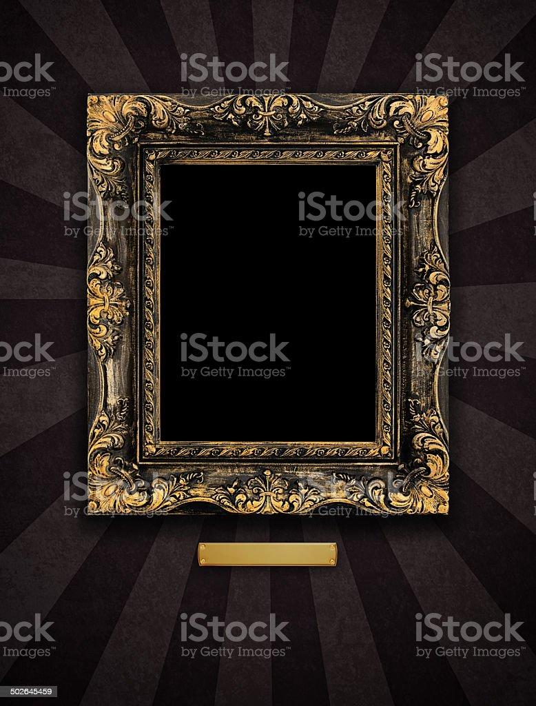 Antique Picture Frame - Rustic Fleur-de-Lis on Display stock photo