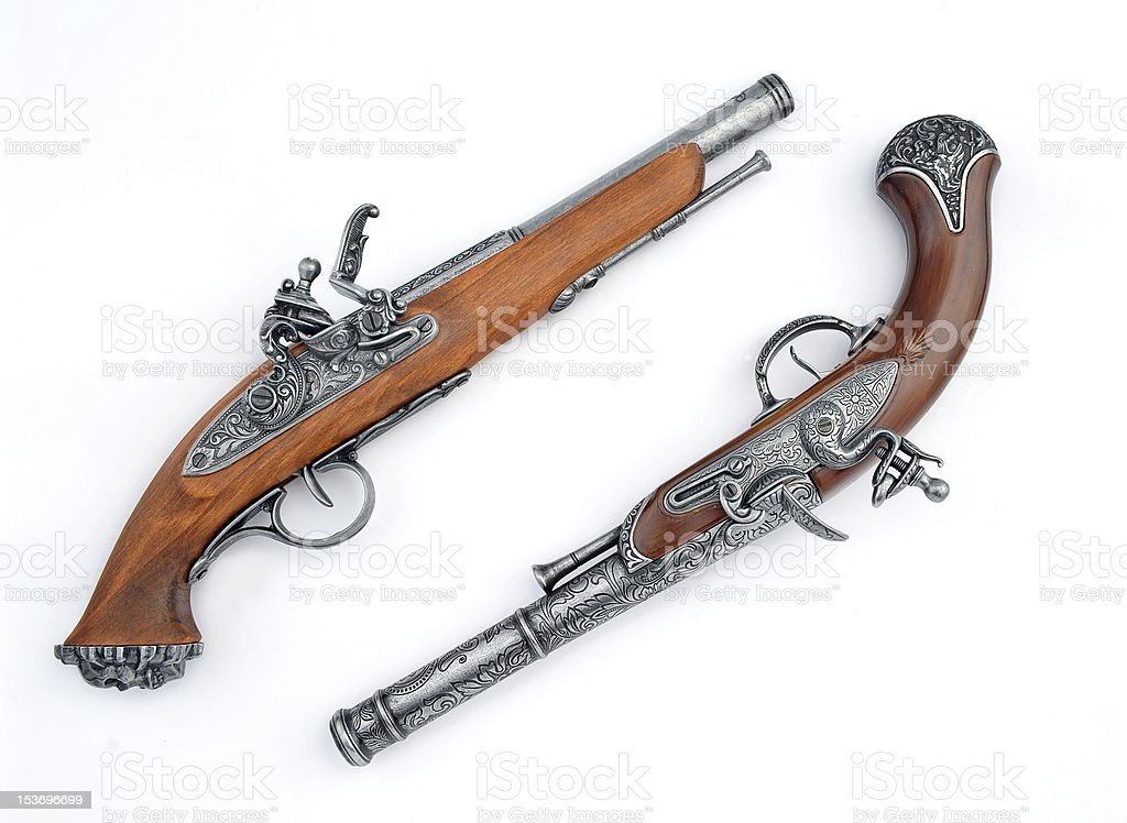 Antique Pirate Pistols stock photo