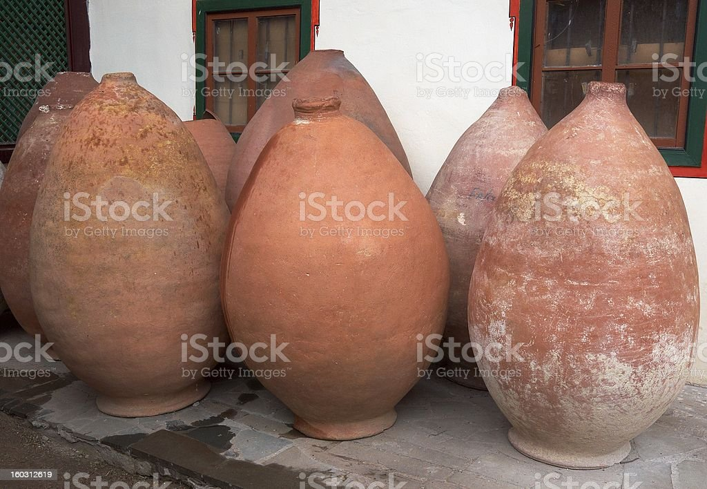 Antique pitchers in amphora's form royalty-free stock photo