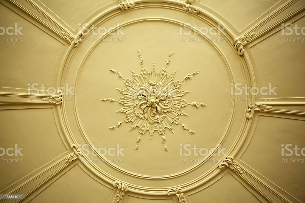 antique plaster ceiling plate stock photo