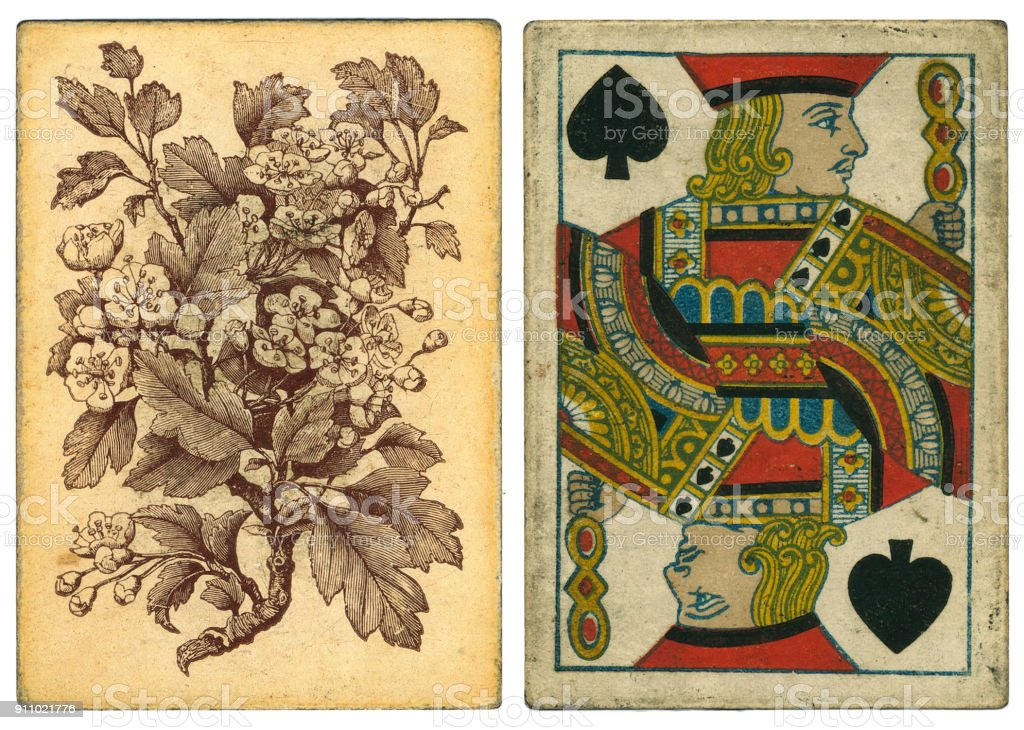 Antique playing card back 19th century hawthorn tree blossom stock photo