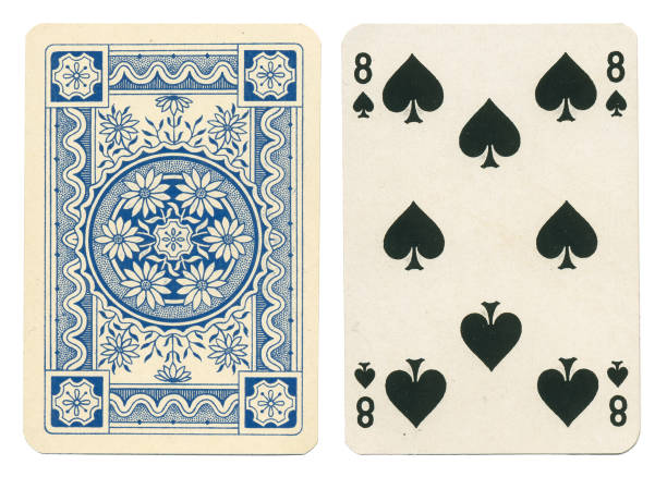 Antique playing card pretty blue floral from Germany stock photo