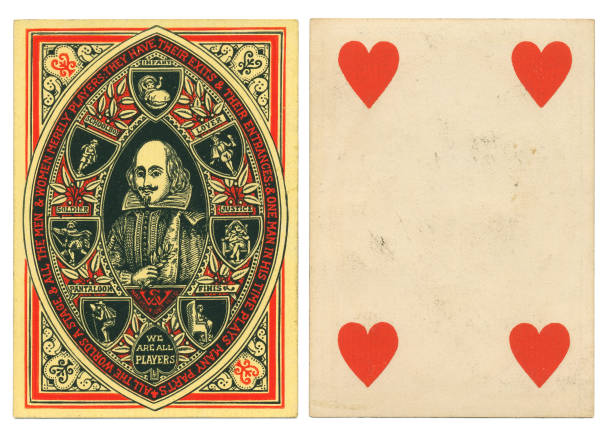 Antique playing card Shakespeare As You Like It stock photo