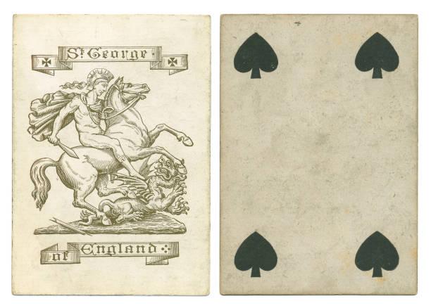 antike spielkarte st. georg und der drache - nikolaiviertel stock-fotos und bilder