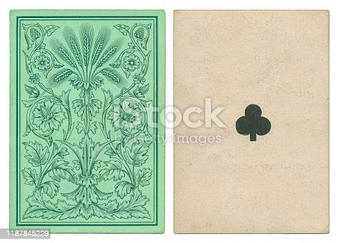 This is a 19th century ace of clubs playing card with square corners and no indices (no numbers in the corners). While the ace symbol is crude, the back design is a delicate green invocation of the brewery trade that includes ears of barley.