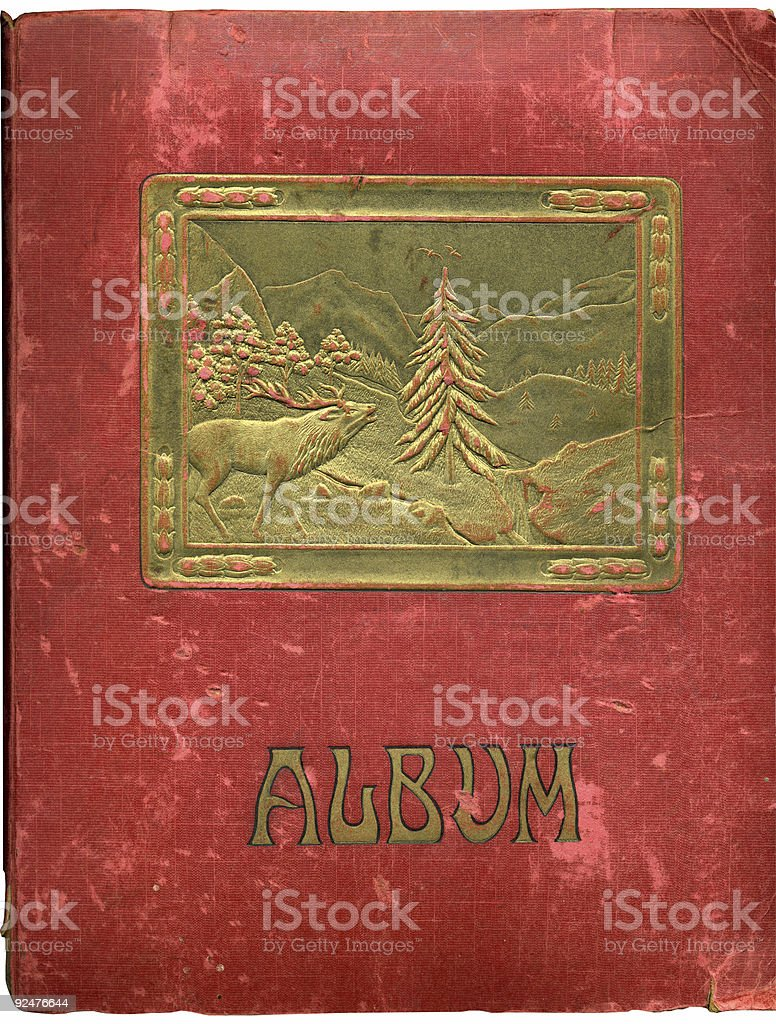 Antique plush red album royalty-free stock photo