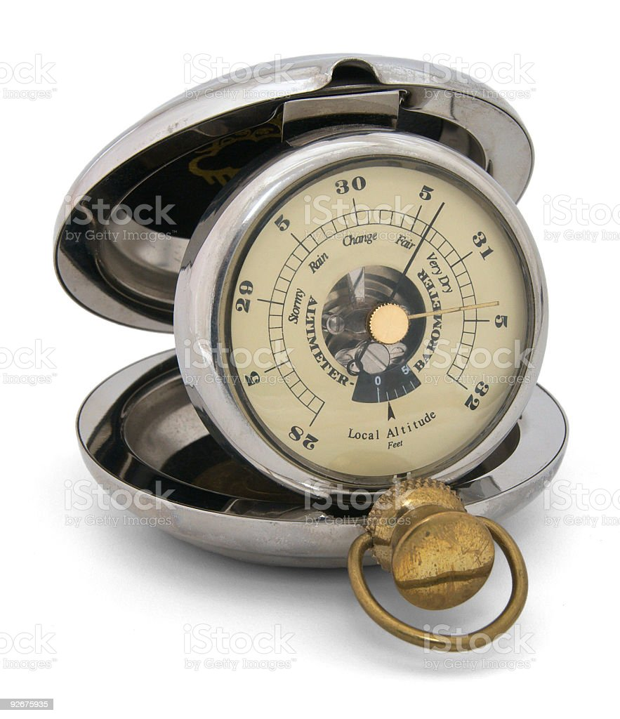 Antique pocket barometer altimeter, closeup, isolated stock photo