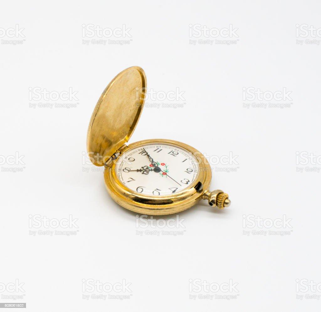 Antique pocket clock stock photo