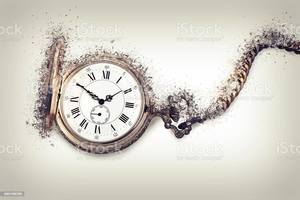 Antique pocket watch exploding stock photo