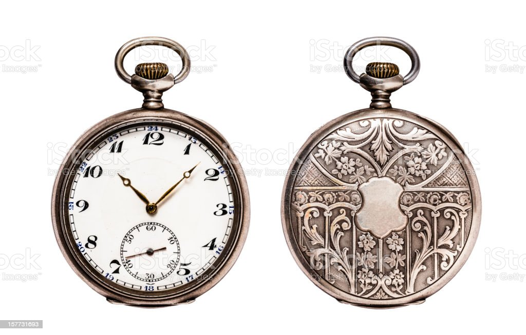 Antique Pocket Watch Isolated on White (Clipping path) stock photo