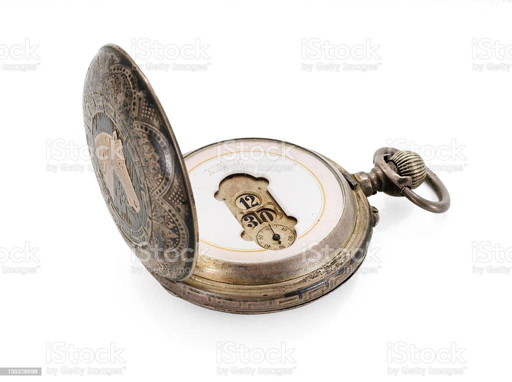 Antique Pocket Watch On White stock photo