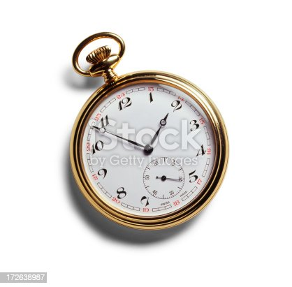 Antique pocket watch on white with soft shadow