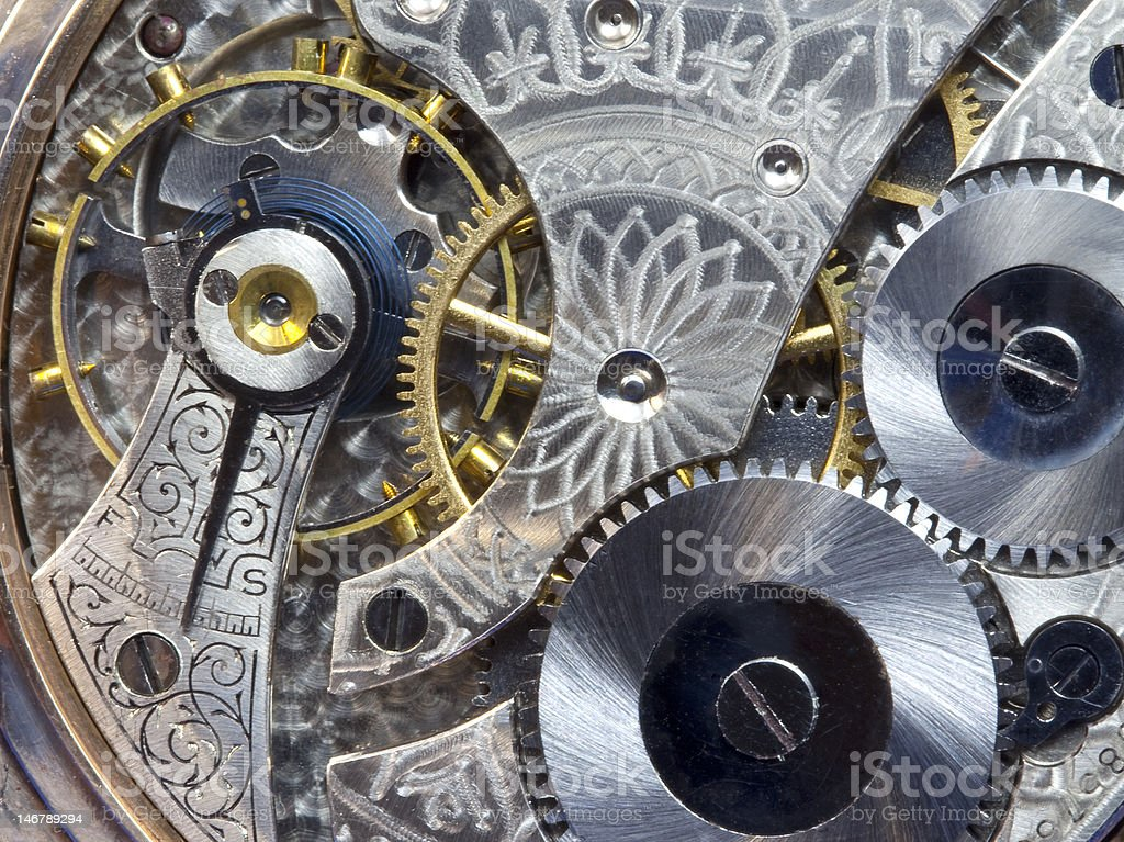 Antique Pocket Watch Works--Macro stock photo