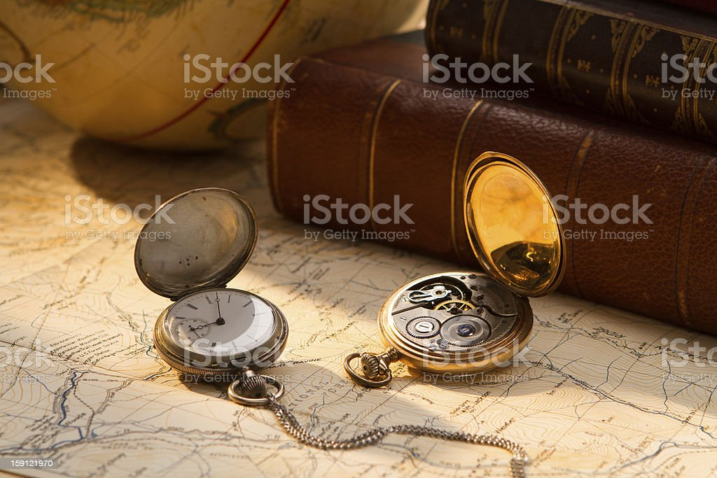Antique Pocket Watches and Books stock photo