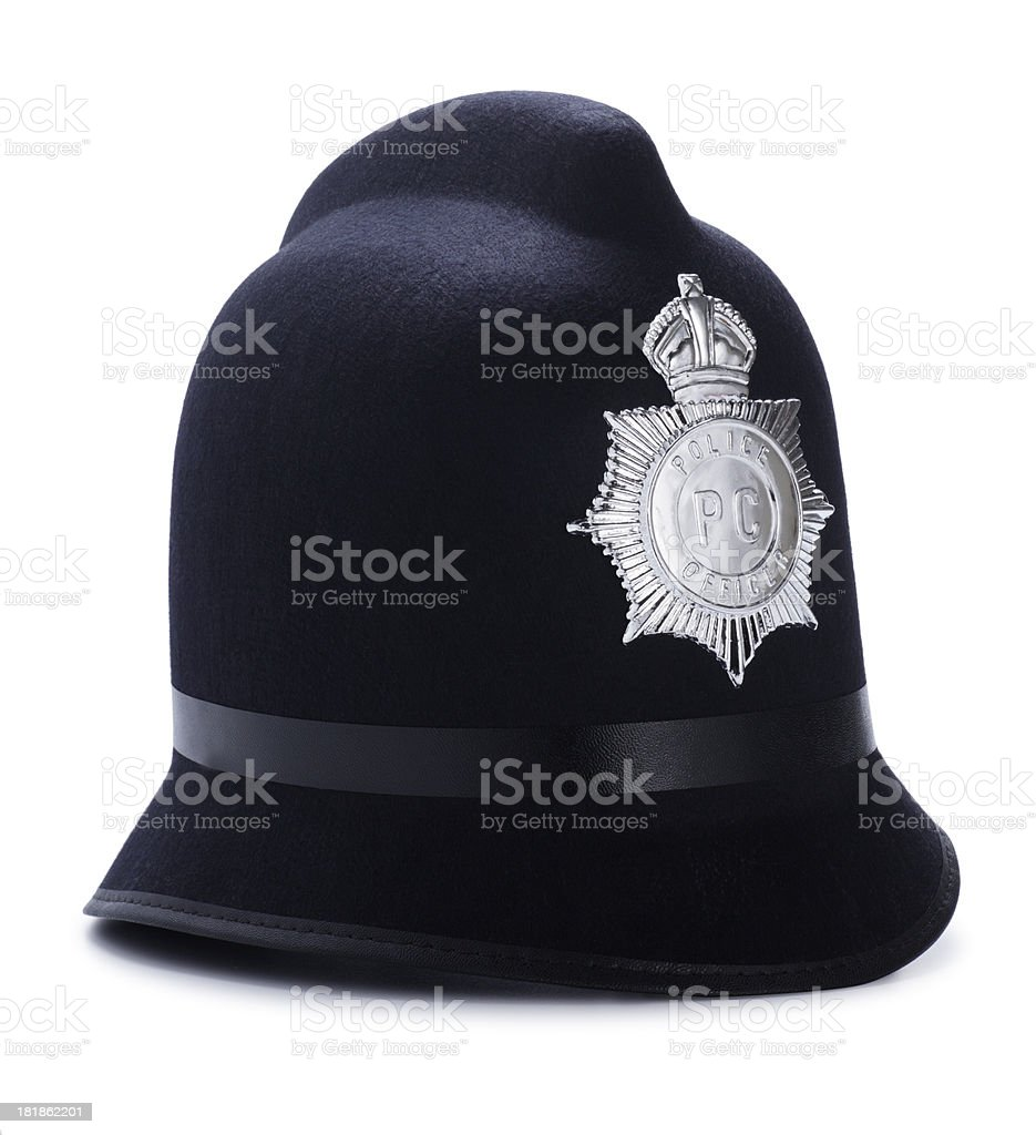 Antique Police Hat Isolated on White stock photo
