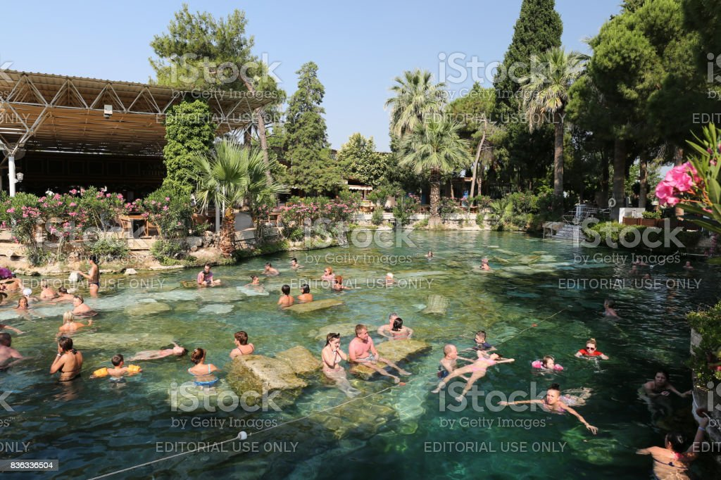 Antique Pool in Hierapolis Ancient City, Turkey stock photo