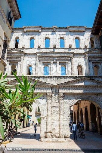 Editorial. May, 2019. Verona, Italy. Antique Porta Borsari, once the southern gateway of Verona, is one of Verona's most striking sights, Italy