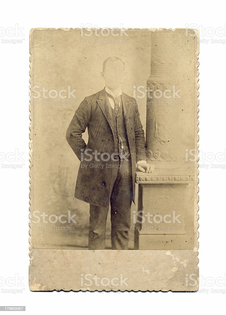 Grunge antique frame with high society faceless man. You add the face...