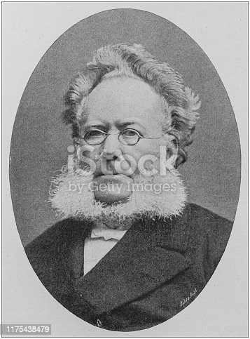 Antique portrait of famous men: Henrik Ibsen