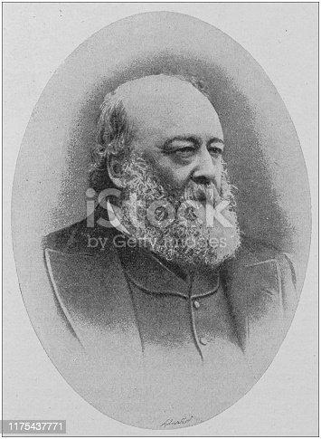 Antique portrait of famous men: Marquis of Salisbury