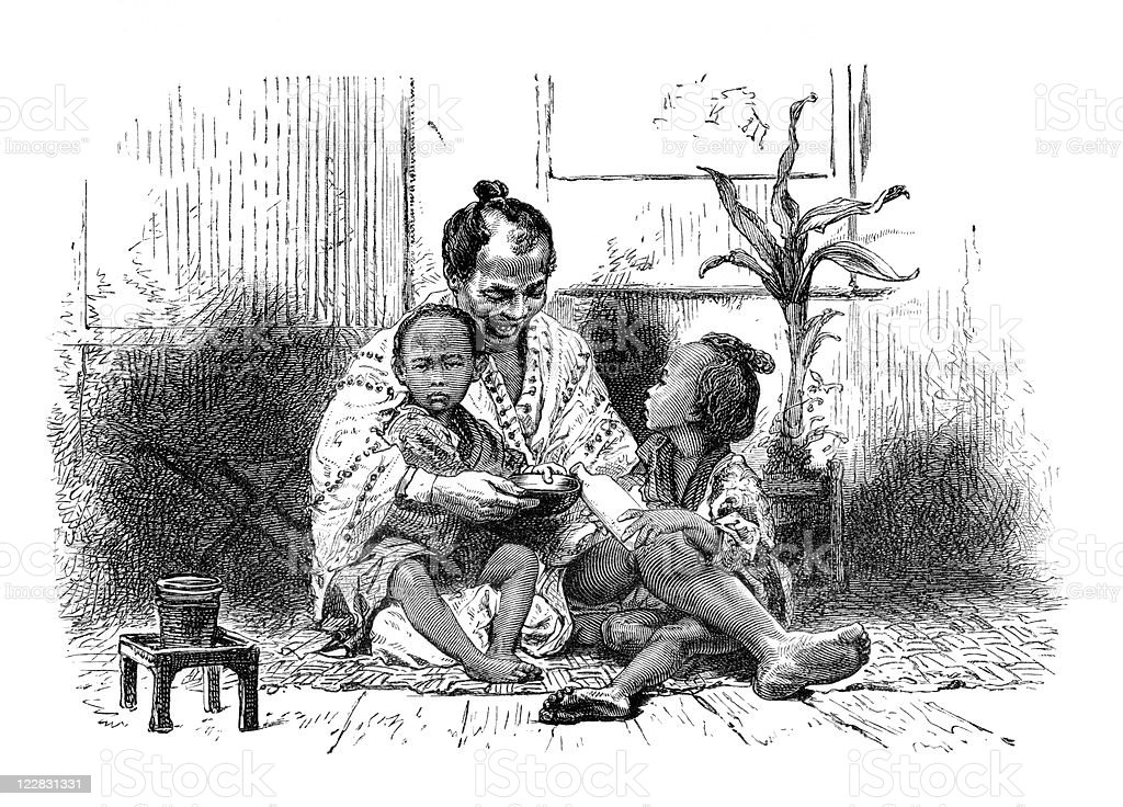 Antique Portrait of Japanese Grandfather Playing with Grandchildren royalty-free stock photo